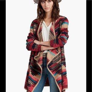 Lucky Brand Aztec Drape Front  Sweater Long